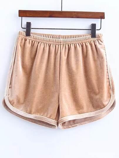velours kaki shorts taille élastique