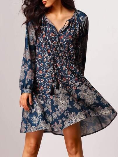Robe vintage imprimé manches longues -bleu marine