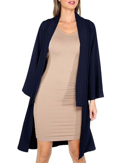 Navy Open Front Long Sleeve Outerwear