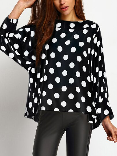 Black Polka Dot Print Cuffed Sleeve Oversized Top