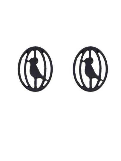 Boucle d'oreille en forme de cage oiseau métal mignon couleur noir
