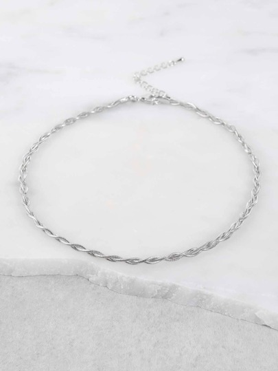 Metallic Chain Choker Necklace SILVER