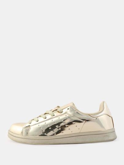Glitter Lace Metallic Sneakers GOLD