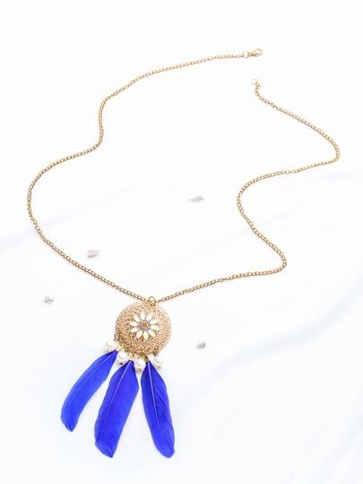 Blue Feather Pendant Gold Necklace