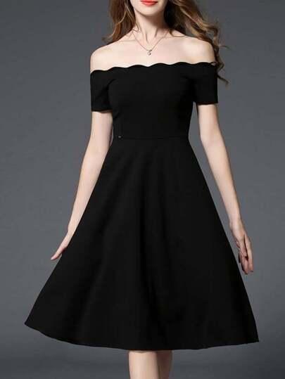 Black Off The Shoulder A-Line Dress