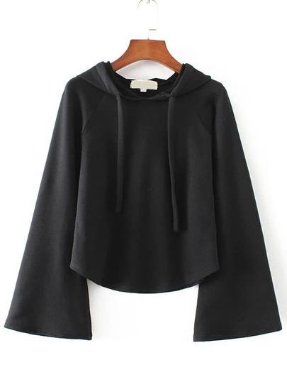 Black Bell Sleeve Drawstring Hooded Sweatshirt