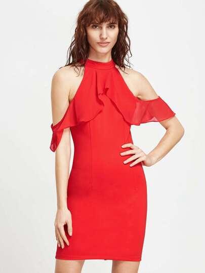 Red Cold Shoulder Ruffle Sheath Dress