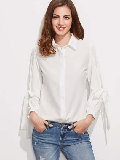 Bow Tie Sleeve Hidden Button Blouse