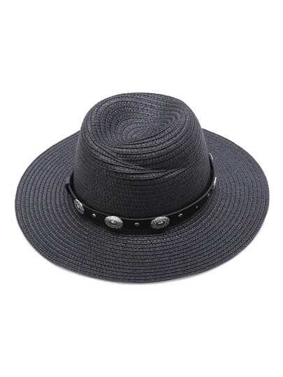 Black Straw Hat With Faux Leather Band