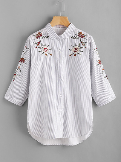 Pinstripe Flower Embroidered  Blouse