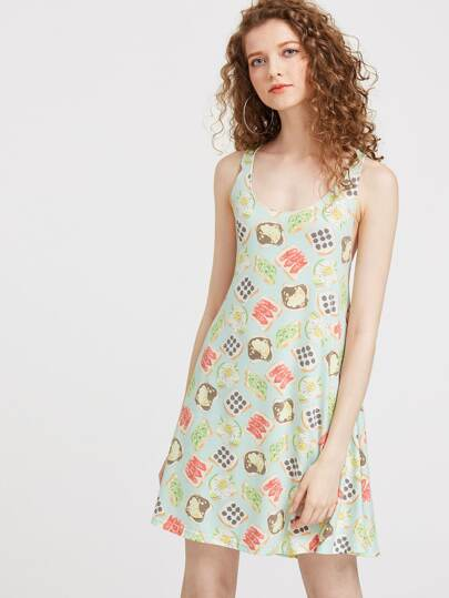 Sandwich Print Double Scoop A Line Tank Dress