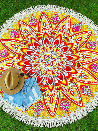 Yellow Floral Print Fringe Trim Round Beach Blanket