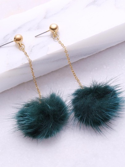Dark Green Pom Pom Drop Earrings