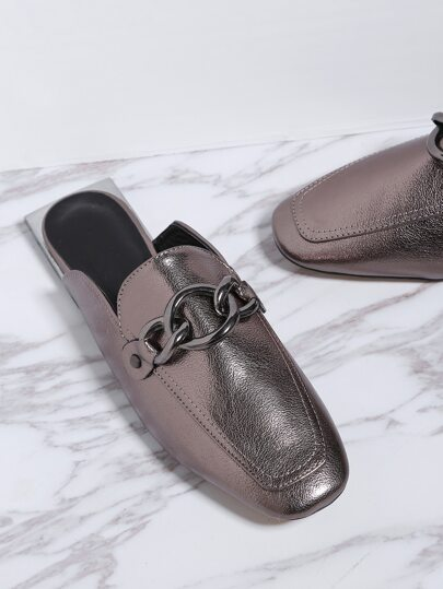 Silver Square Toe PU Loafer Slippers