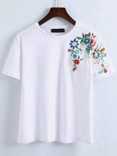 Flower Embroidery T-Shirt