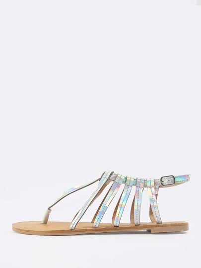 Holographic Caged Thong Sandal SILVER