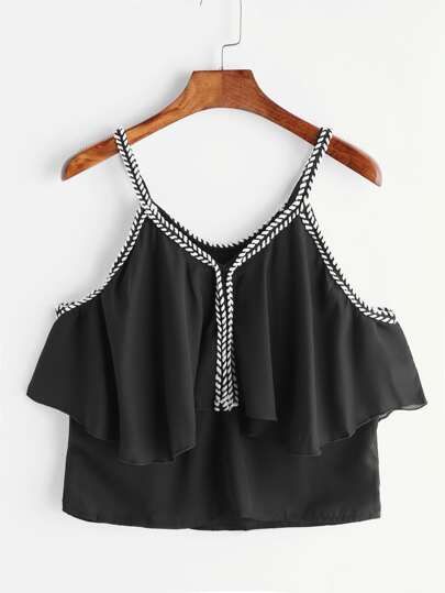 Black Contrast Crochet Trim Ruffle Cami Top