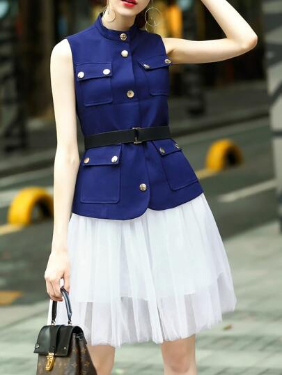 Blue Belted Top With Gauze Skirt