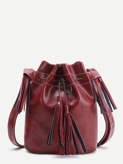 Bourgogne Tassel détail Bucket Bag