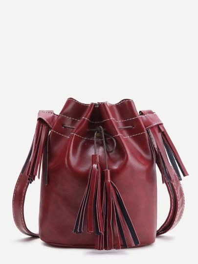 Burgundy Tassel Detail Bucket Bag