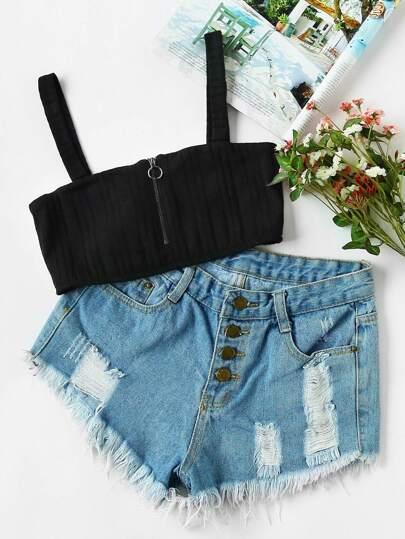 Zip Front Ribbed Knit Bralet