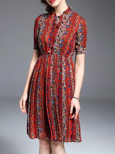 Multicolor Tie Neck Elastic-Waist Print Dress