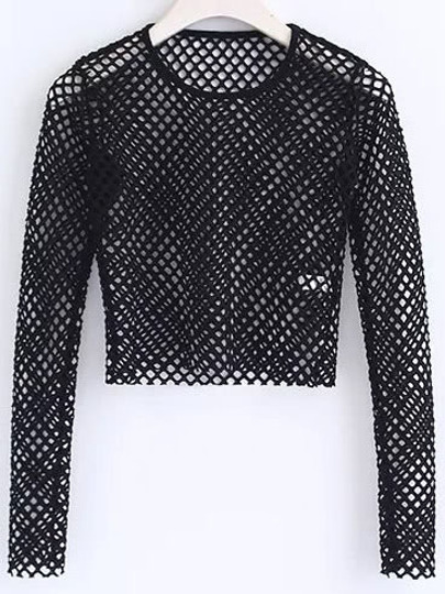 Hollow Out Fishnet Crop Top