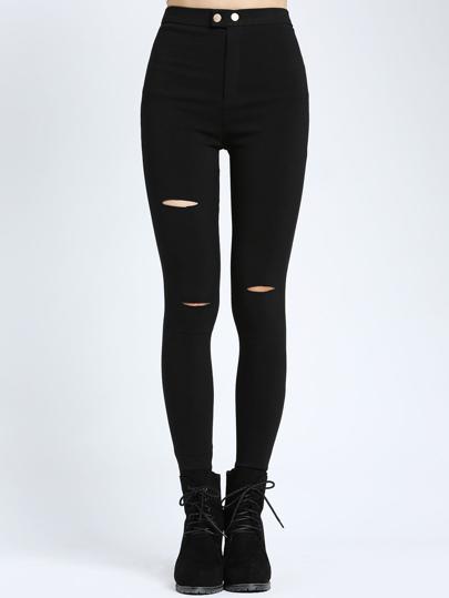 Pantalones elásticos con aberturas en denim - negro