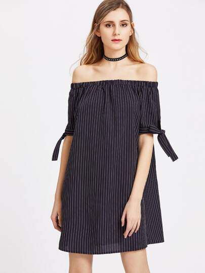 Pinstripe Off The Shoulder Self Tie Sleeve Dress