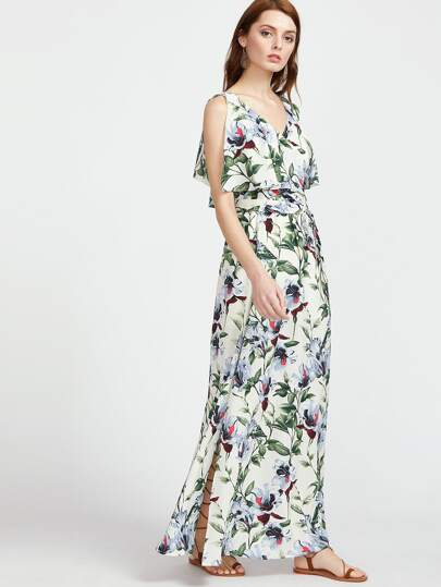 Botanical Print Surplice Wrap Split Dress