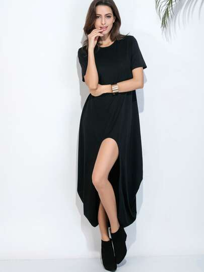 Black Dip Hem Cocoon Dress