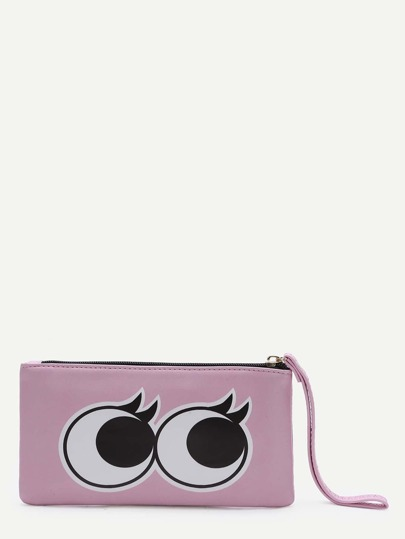Pink Eye Pattern PU Purse