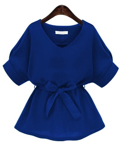 Blouse à col en V bleu royal