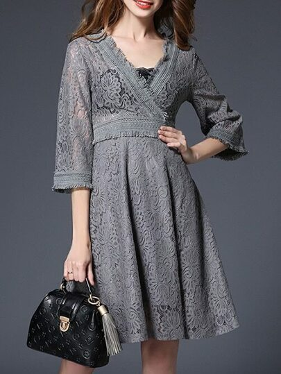 Grey V Neck Bell Sleeve Lace Dress