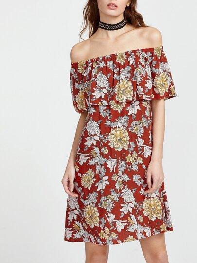 Robe imprimé fleurs ébouriffé épaules nues - Rouge