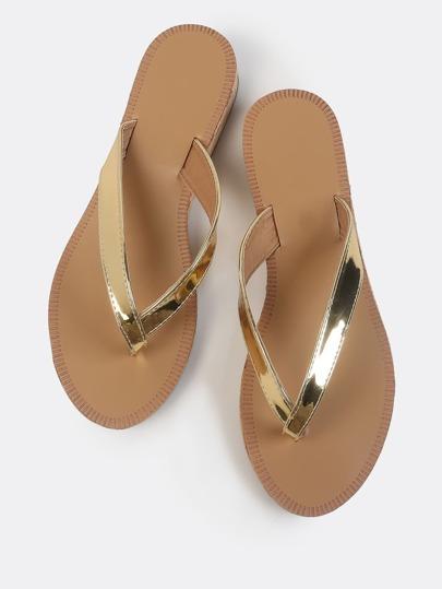 Metallic Cork Wedge Thong Sandals GOLD