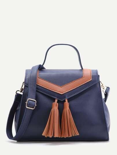 Navy Satchel Bag With Contrast Tassel