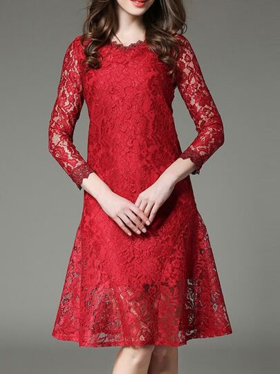 Red Crew Neck A-Line Lace Dress