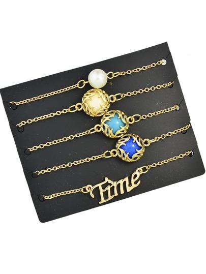 Set di braccialetto con pietra preziosa d'imitazione boho