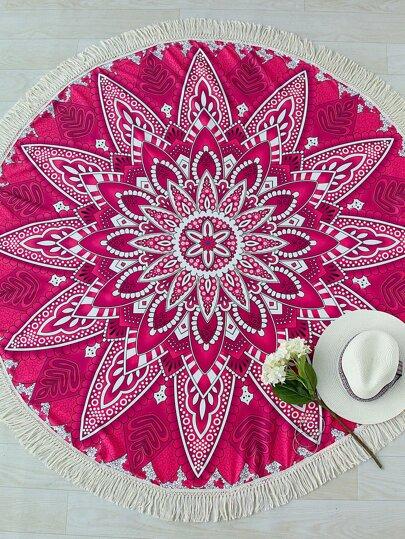 Red Flower Print Contrast Fringe Trim Round Beach Blanket