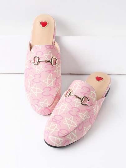 Chinelas estilo mocasín de pu con estampado de estrella y letra - rosa