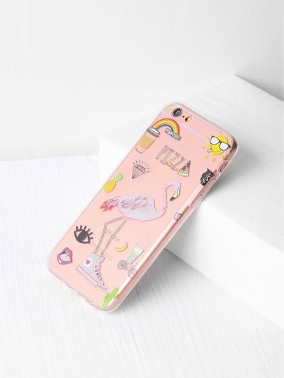Funda para iPhone 6/6s transparente con estampado de flamingo