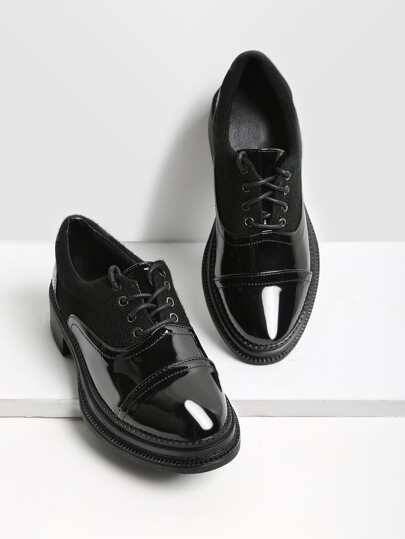 Lace Up Patent Leather Brogue Shoes