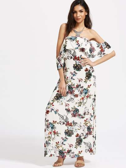 Flounce Layered Neckline Floral Print Cutout Back Dress