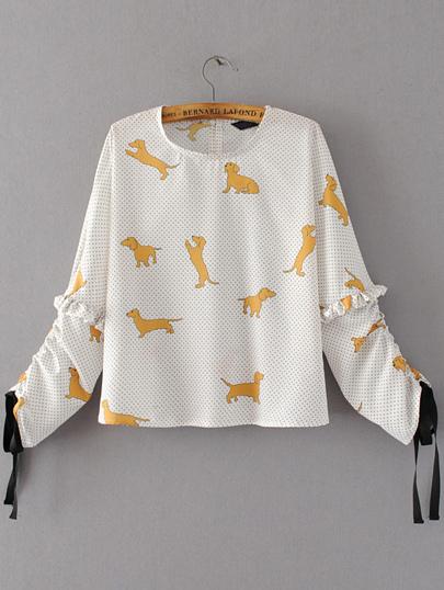Blusa con estampado de perro de lunares con volantes - blanco
