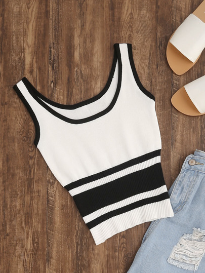 Contrast Trim Ribbed Hem Knitted Crop Tank Top