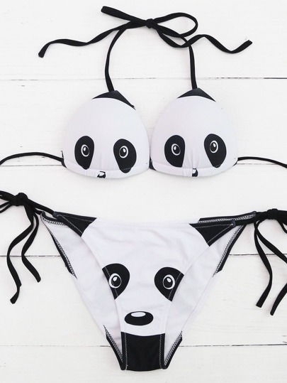 Lace Up Panda Pattern Side Tie Bikini Set