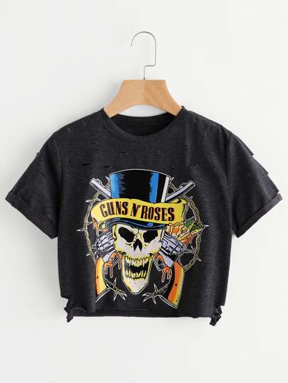 Skull Print Distressed Detail Crop Tee