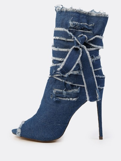 Distressed Denim Wrap Booties DARK DENIM