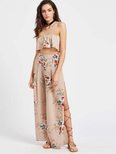 Khaki Florals Ruffle Layered Bandeau Top With Split Pants